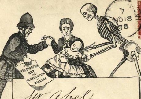 Koperta z karykaturą antyszczepionkową z 1878 roku.