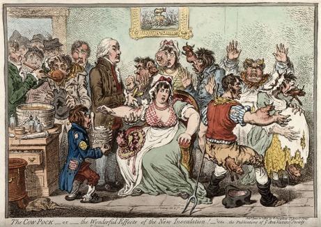 Antyszczepionkowa karykatura z 1802 przedstawiająca Edwarda Jennera